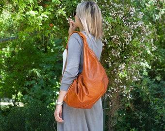 Leather hobo bag brown, shoulder purse slouchy womens bag carryall bag weekend bag overnight bag everyday - Kallia bag