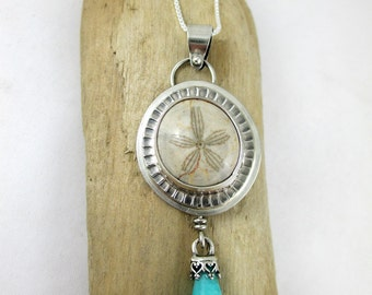 Fossil Sea Biscuit, Amazonite, Sterling Silver Necklace
