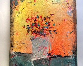9 x 12 Flowers Abstract Art Acrylic Painting on canvas Ready to hang with hanger Contemporary Mixed Media Modern Paint Wall Original
