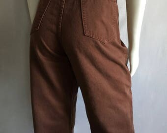 Vintage Women's 80's City Jeans, Brown, High Waisted, Colored Denim (L)