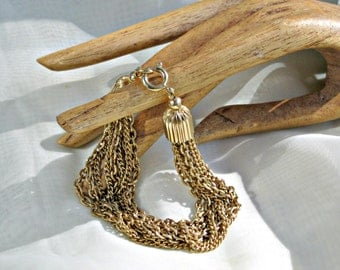 7in Bracelet Vintage 60s Jewelry 5 Cable Link 5 Rope Chains