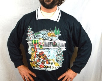 Vintage 90s Kitty Cat Meow Holiday Christmas Xmas Party Glitter Sweatshirt