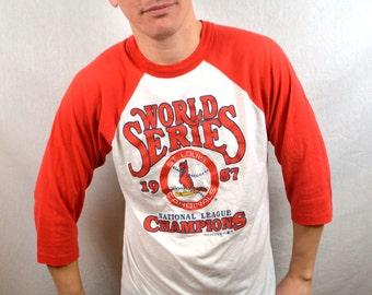 Vintage 1987 MLB St. Louis Cardinals Baseball 80s Raglan Baseball Tshirt Tee Shirt