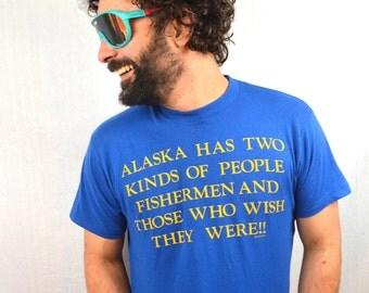 Vintage 80s Funny Alaska Tshirt Tee Shirt