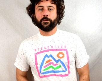 Vintage 1980s 90s Neon Mt Bachelor Ski Tee Shirt Tshirt