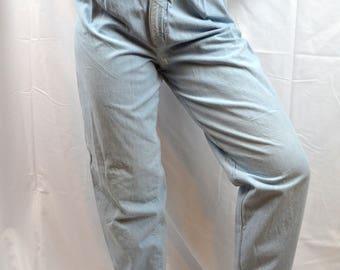 Vintage 80s Skoozi Light Wash Pleated High Waisted Jeans