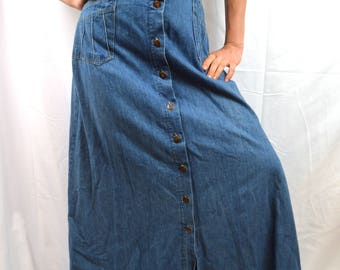 Vintage H.I.S. Superstar Jean Denim 70s 80s Maxi Skirt