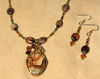 Pretty As A PICTURE JASPER Necklace Wire Wrapped in Brass and Copper NATIVE American Rosebud Lakota Sioux LakotaLuck Splendiforous Set