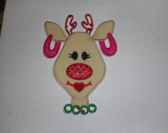Free Shipping Ready to ship Diva Reindeer machine Embroidery iron on  applique