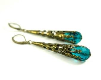 Dark Teal Earrings Long Dangle Earrings Antiqued Brass