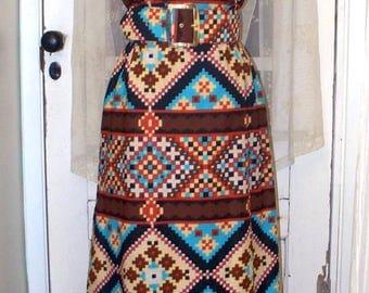 vintage 70s southwestern tribal belted sleeveless polyester maxi sheath dress