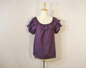 Square Dance Malco Modes Ruffled Peasant Prairie Blouse Top L XL