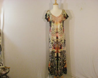 Boho Chic Abstract Long Maxi Dress Psychedelic Hippie Vintage Dress M