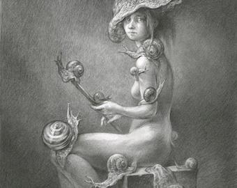 Model with Mollusks - original pencil drawing, fantasy art, snail, woman