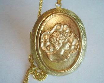 Art Deco Lady Reversible Locket Pendant Gold Tone