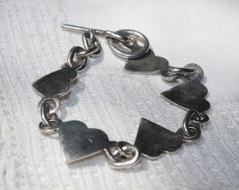 Heart Bracelet Link Sterling Silver Brushed VINTAGE by Plantdreaming