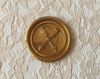 Crossed Arrows Peel  and Stick Flexible Wax Seals, 1.2 Inches in Size with One Inch Adhesive