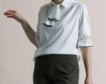 Vintage 70s Sportiva White & Black Necktie Blouse