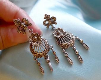 Vintage Sterling Silver Marcasite Flower Fleur De Lis Bow Dangle 8.6g Post Earrings Wedding