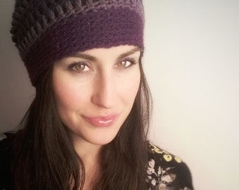 Boho//Slouch Hat//Summer//Spring//Stripes//Purple***READY TO SHIP***