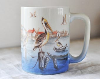 Vintage Otagiri Japan Fishing Village Harbor Mug, Pelican Mug, Wildlife Mug,  1980's Ocean Bird Ceramic Mug, Wildlife Bird Mug, Beach Decor