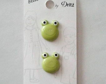 Green Frog Buttons - Belle Buttons by Dritz - Set of 2 (on the card)