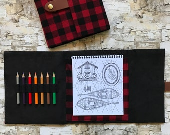 Coloring Book with a Fabric Case for Adults - Winter Cabin Theme