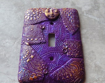 Purple Cosmic Guardian, switch plate cover, polymer clay, guardian, totem, purple, gold,