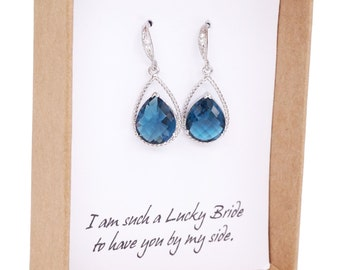 Mabel - Bridal Earrings Bridesmaid Earrings Cubic Zirconia ear wires, Montana Blue Crystal Tear drops, Bridesmaids,