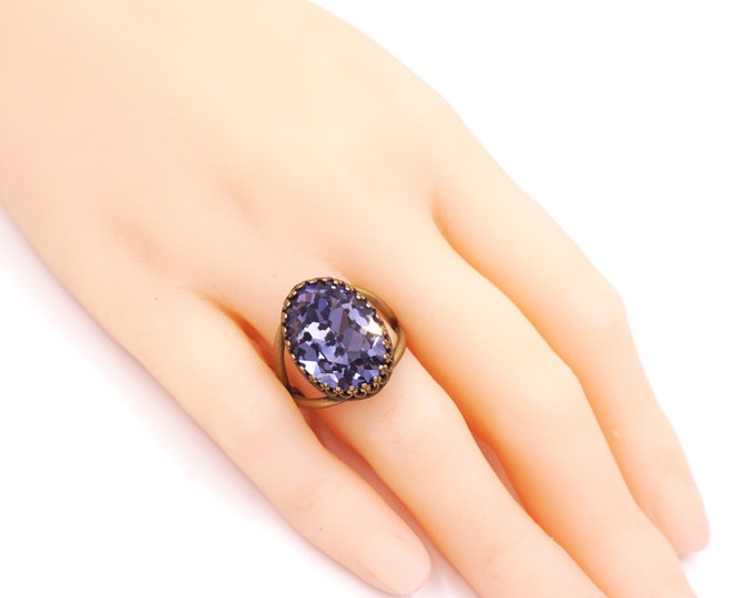 Tanzanite Purple Crystal Cocktail Ring, Brass Adjustable Ring Swarovski Crystal Oval Stone Cocktail Ring Rose Gold Vintage Statement Ring