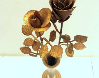Aged Brass Tole 40s Metal Roses and Vase