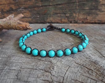 Turquoise Beads Anklet/Bracelet, Unisex Simple Anklet, 6mm beads