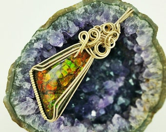 Brilliant Colored Ammolite Wire Wrapped Pendant in 14K Gold Fill On Sale Now 40 Dollars Off