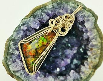 Brilliant Colored Ammolite Wire Wrapped Pendant in 14K Gold Fill