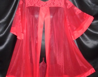 Vintage 1950's Red JC Penny Sheer Robe