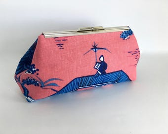 Chinoiserie clutch, blue clutch, asian inspired, formal clutch, evening bag, royal blue, one of a kind in Lee Jofa Willow
