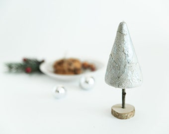Decorative Christmas tree - Holiday table top silver, natural - Christmas gift idea