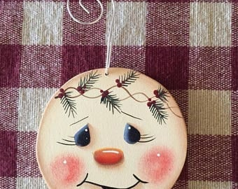 Adorable Small Circle Snowman Hand  Painted Wood Christmas Ornament