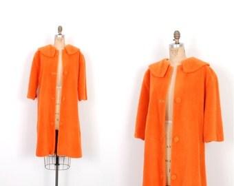 Vintage 1960s Coat / 60s Lightweight Faux Fur Coat / Neon Orange ( small S )