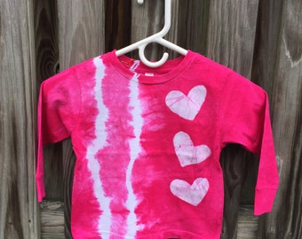 Long Sleeve Girls Shirt, Pink Hearts Shirt, Girls Heart Shirt, Tie Dye Shirt, Batik Girls Shirt, Fuchsia Hearts Shirt, Valentines Day (3T)
