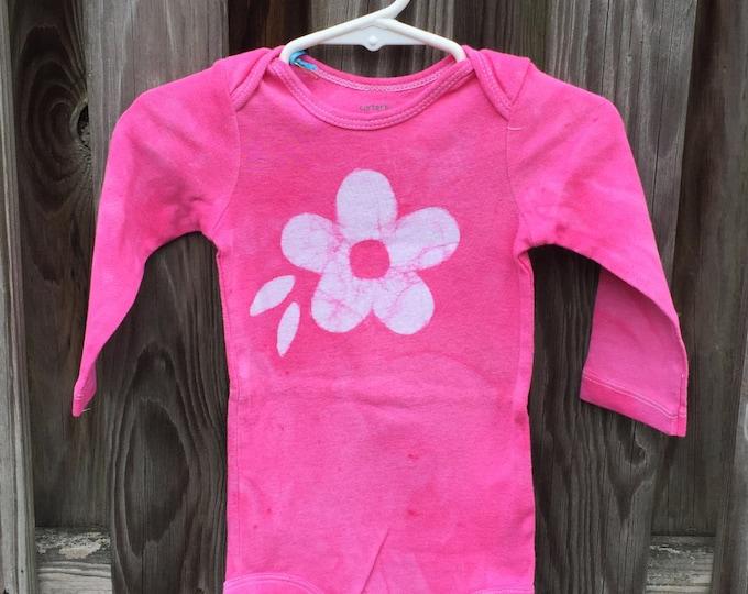 Pink Flower Bodysuit (12 months), Girls Flower Bodysuit, Pink Baby Gift, Baby Girl Gift, Baby Shower Gift