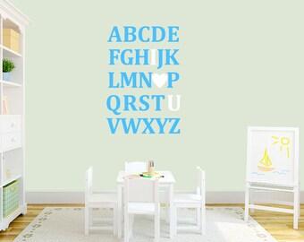 I Love You Alphabet Wall Decals - Nursery & Kids Room Playroom Custom Wall Decals