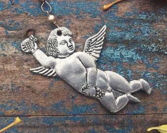 Vintage pewter cherub ornament with chain, vintage milagro putti angel Christmas tree ornament, silver tone angel milagro Christmas decor