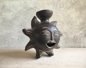 Vintage Mexican pottery sun candleholder, sun face candle holder bohemian decor, Mexican folk art, Mexican decor, rustic home decor, boho
