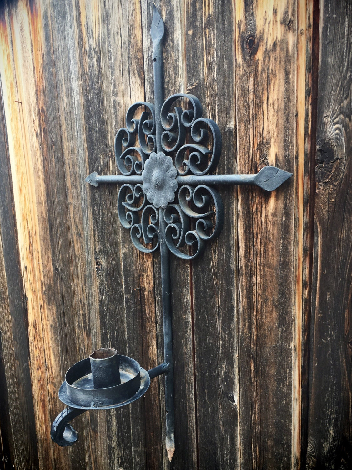 Large Vintage Mexican Wrought Iron Cross Candle Holder