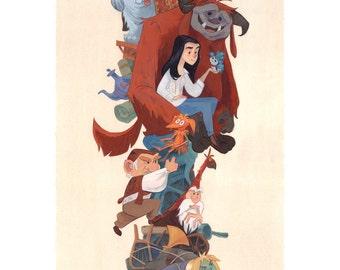 Sarah and Her Friends, Labyrinth Tribute | Fine Art Print | Hoggle, Sir Didymus, Ludo, Ambrosius, Firey | Flimflammery