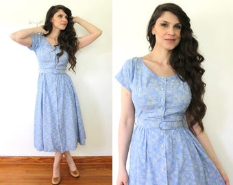 1950s Dress / 50s Light Blue Floral Cotton Dress