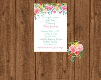 Floral Baby Shower Invitation, Floral Baby Shower, Girl Baby Shower, Rose Invitation, Flowers Invitation