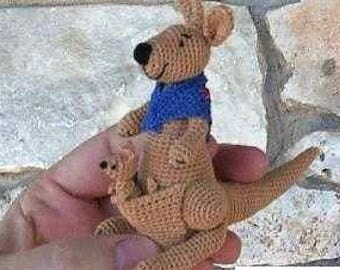 Crochet Pattern - Mama Kangaroo and her Joey Baby - Easy crochet Baby Toy Stuffie