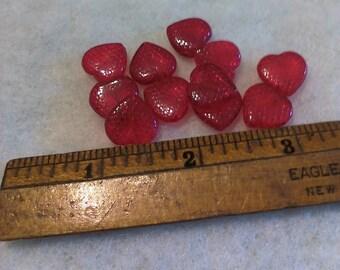 25 14mm Czech Glass Honeycomb Heart Beads - Ruby